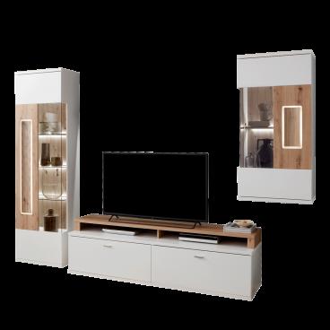 Ideal m bel moderne wohnwand in wei artisan eiche mit for Wohnwand holzoptik