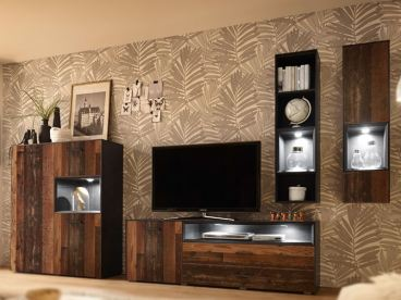 Mausbacher Texas Kombination Fur Ihr Wohnzimmer Vierteilige Wohnwand Mit 1 Highboard Lowboard Hangeregal Und
