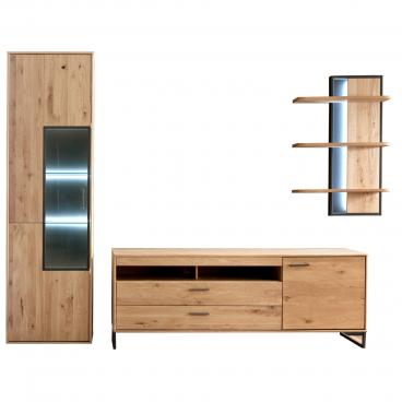 Mca Furniture Wohnwand Im Industrial Look Asteiche Bianco Anthrazit