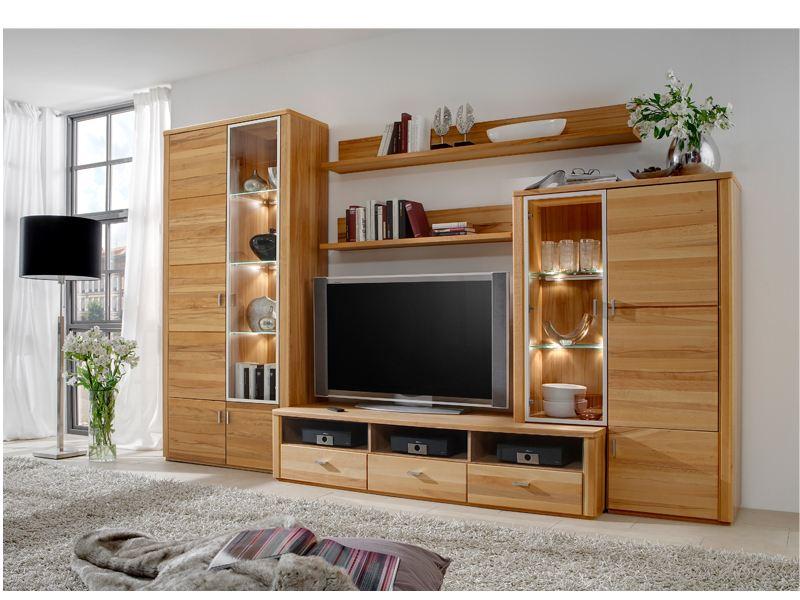 IDEAL Möbel Wohnwand Belem Kombination 155 Anbauwand Front In Kernbuche  Lamelle Massiv Geölt