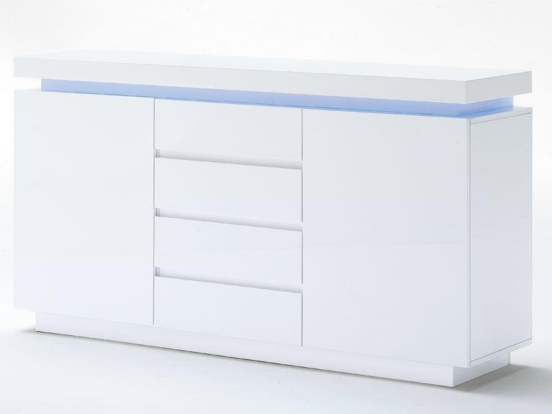 Mca Furniture Ocean Modernes Sideboard Lack Weiss Hochglanz Inkl Led