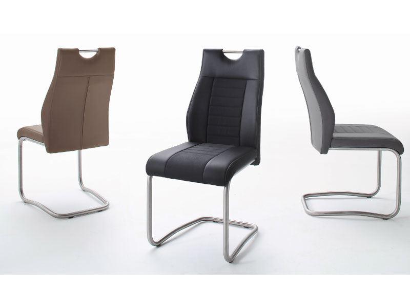 MCA Freischwinger Tito 2 Stuhl 2er Set mit Griff Rückenlehne und Sitz Kunstleder mittlere
