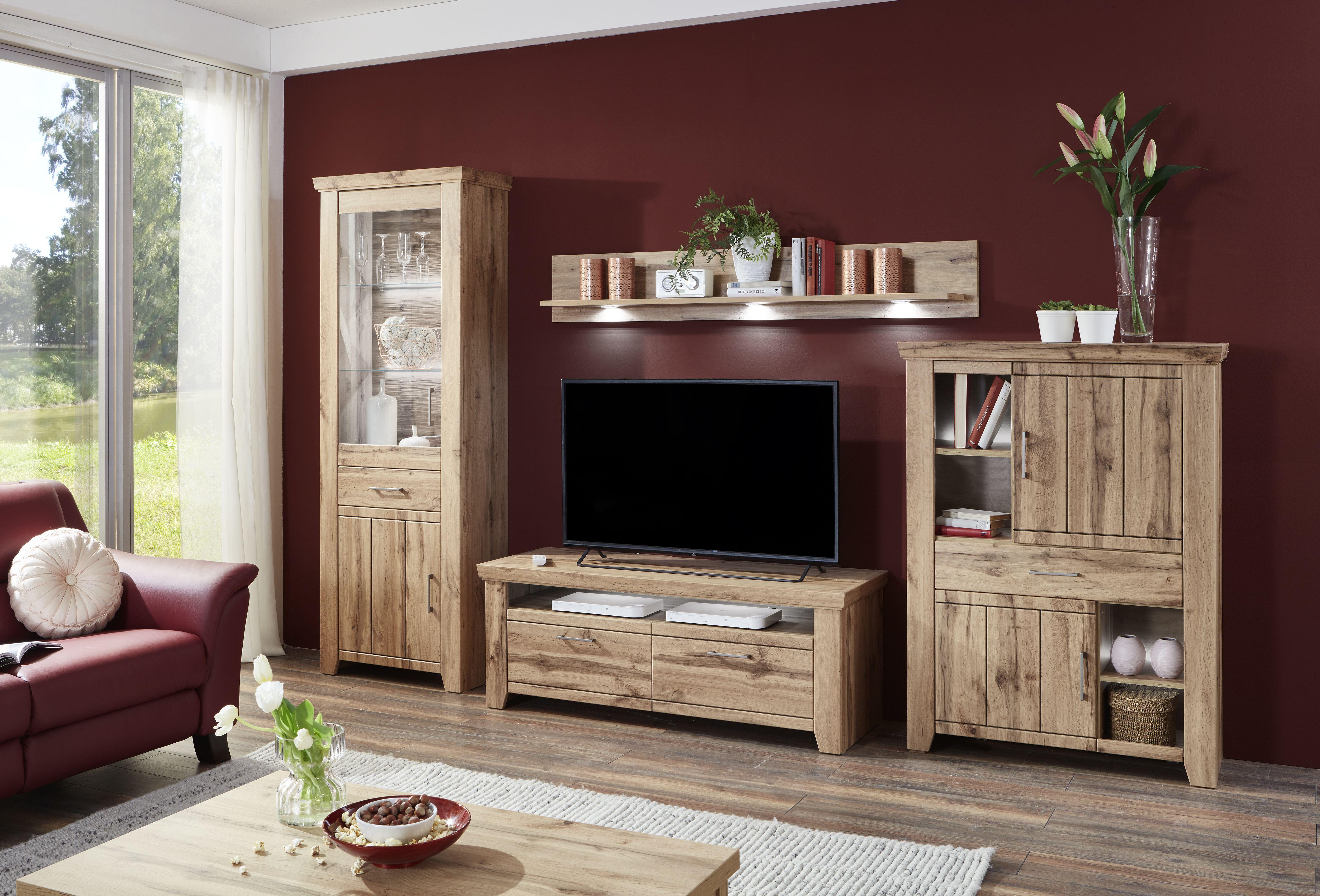 ideal mobel wohnwand stromberg 4 teilig mit vitrine unterteil fur tv highboard und wandpaneel