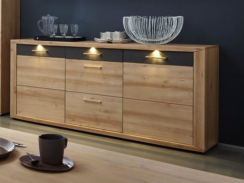 wohn concept sideboard buche inkl led beleuchtung. Black Bedroom Furniture Sets. Home Design Ideas