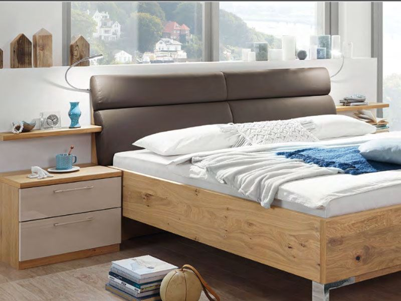 disselkamp cd studioline bett mit nachtkonsolen korpus balkeneiche. Black Bedroom Furniture Sets. Home Design Ideas