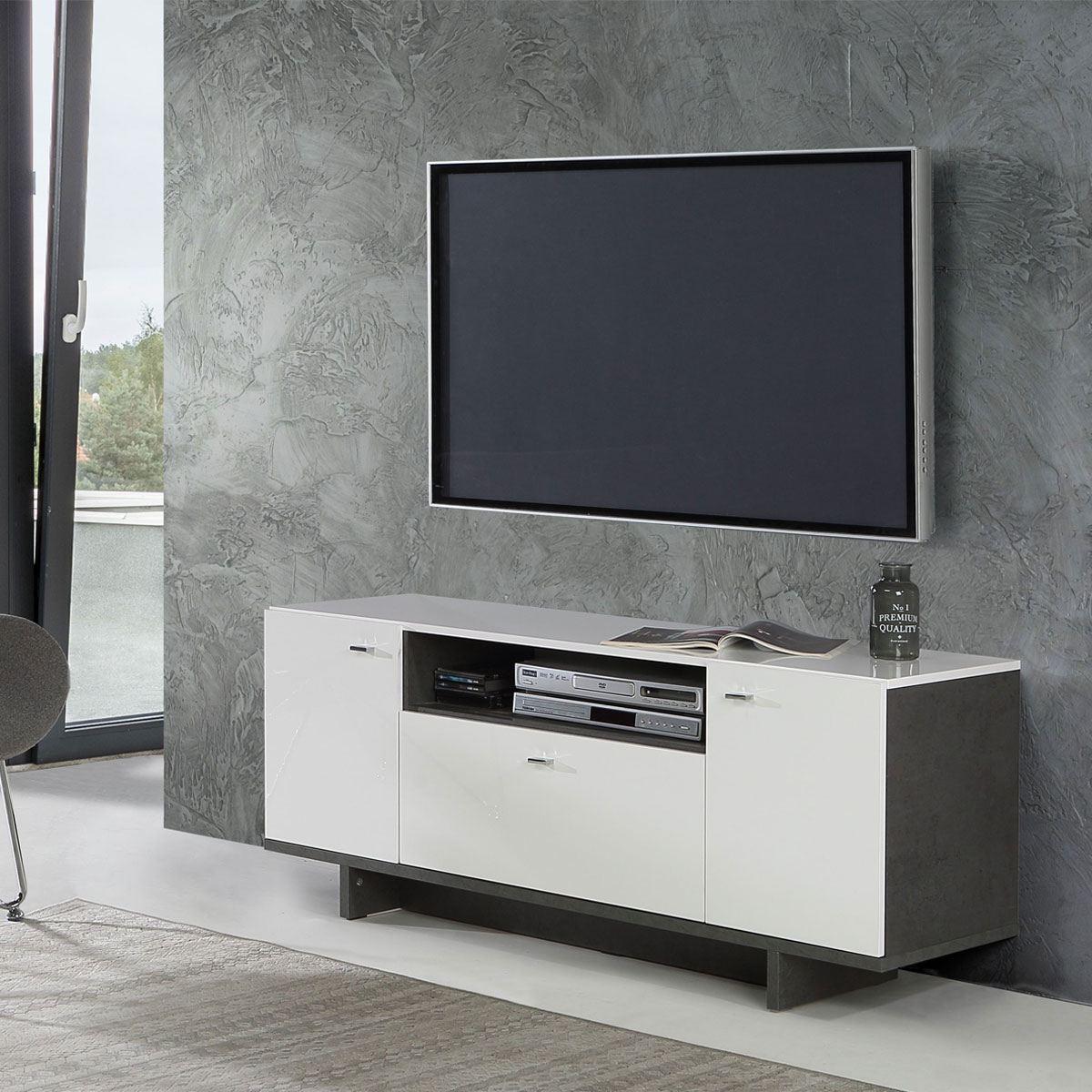 forte modernes zweit riges lowboard in betonoptik wei. Black Bedroom Furniture Sets. Home Design Ideas