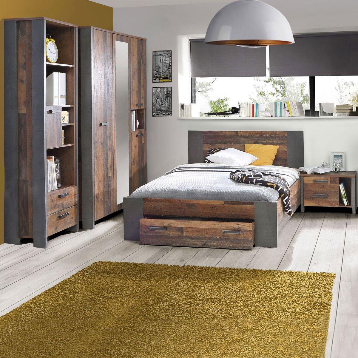 forte clif jugendzimmer bett kleiderschrank regal nachtkommode. Black Bedroom Furniture Sets. Home Design Ideas