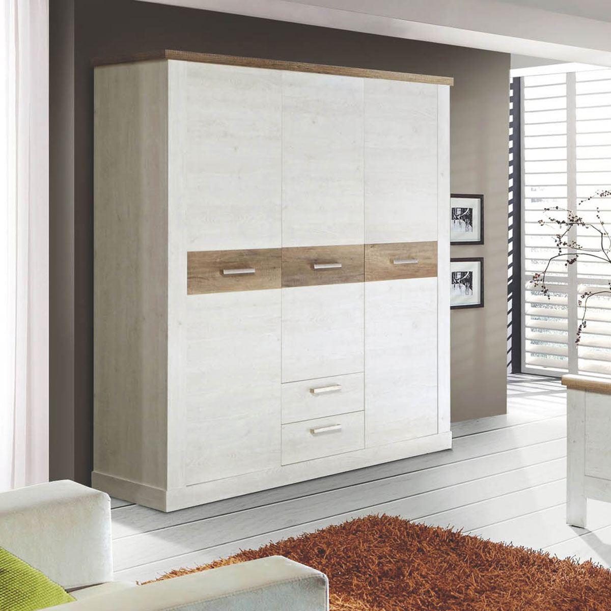 Forte duro jugendzimmer kleiderschrank mit 3 t ren und 2 for Jugendzimmer selbst zusammenstellen