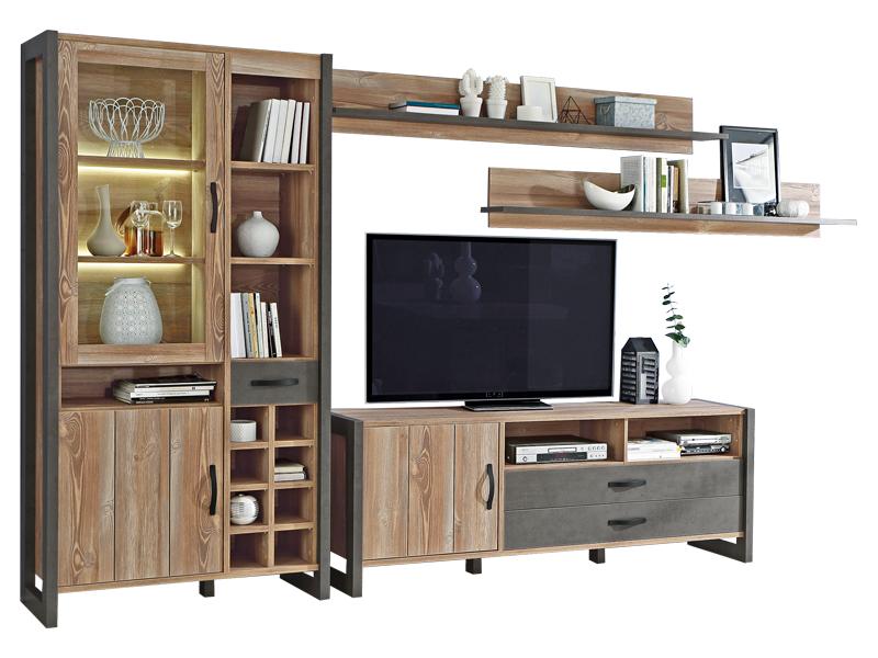 forte 4 teilige wohnwand in picea kiefer betonoptik mit viel stauraum. Black Bedroom Furniture Sets. Home Design Ideas