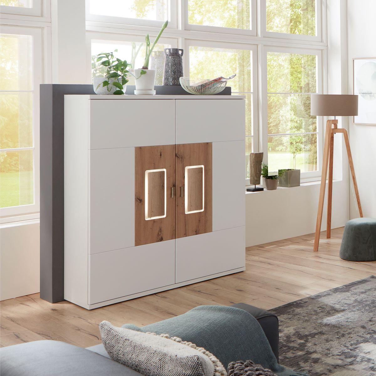 ideal m bel modernes highboard in wei artisan eiche mit. Black Bedroom Furniture Sets. Home Design Ideas