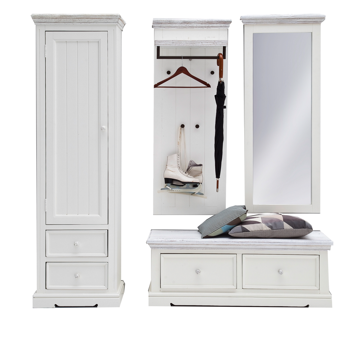 mca opus garderoben set 3 komplette garderobe f r flur mit garderobenschrank bank wandpaneel. Black Bedroom Furniture Sets. Home Design Ideas