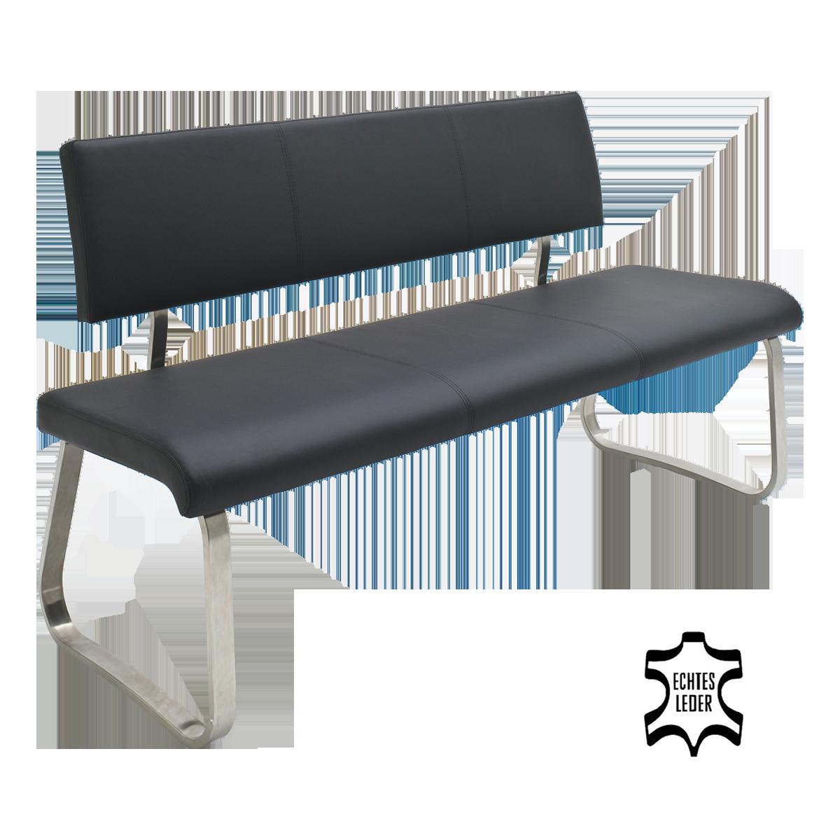 MCA furniture Sitzbank Arco mit Bezug Leder schwarz und Gestell Edelstahl gebürstet Flachrohr ...