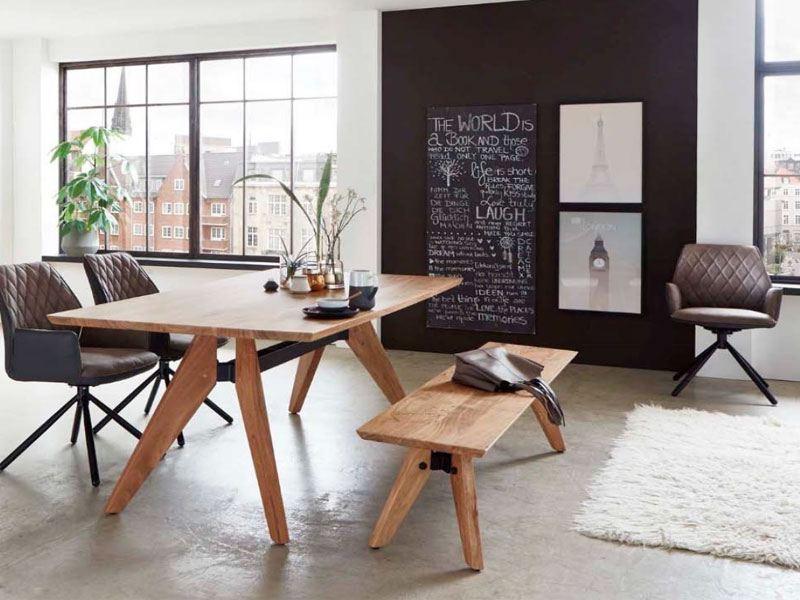 sitzbank in massivholz edelakazie auf design vierfu gestell. Black Bedroom Furniture Sets. Home Design Ideas