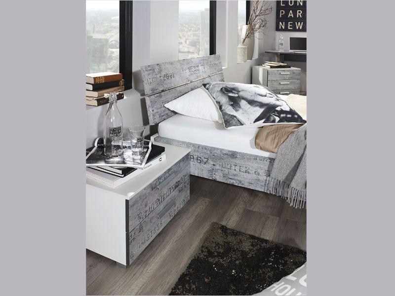 rauch select sumatra extra bett in alpinwei mit vintage optik grau. Black Bedroom Furniture Sets. Home Design Ideas